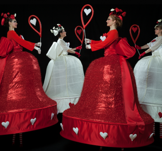 Valentine Themed Stilt Walkers