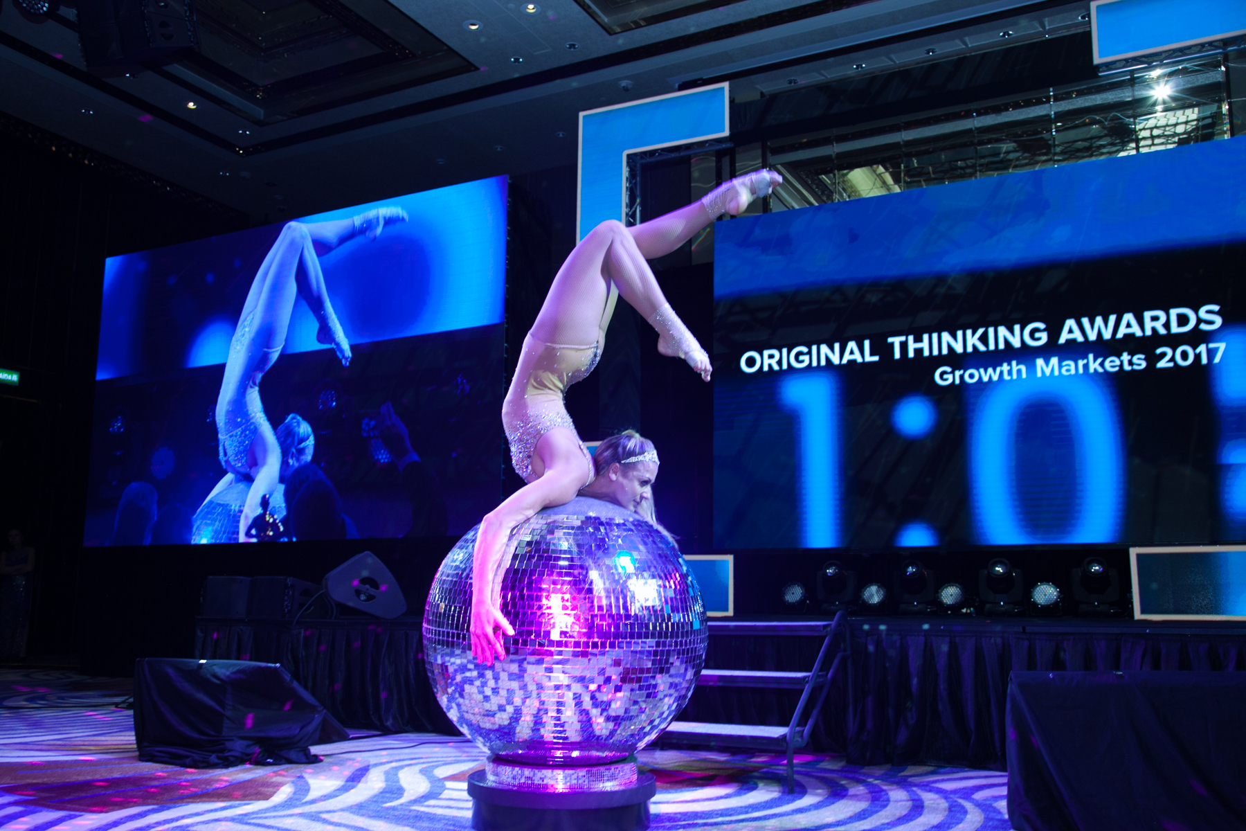 Mirror Ball Acrobat Hand Balancing Act Contortionist