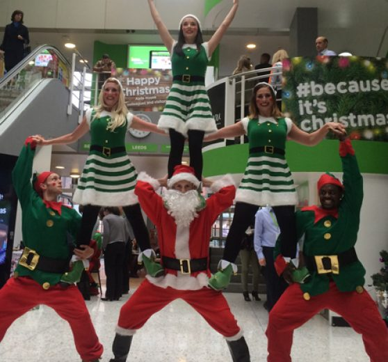 Breakdancing Santa and Elves